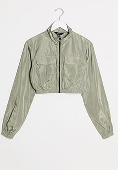 NaaNaa utility track jacket in khaki-Green