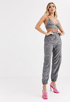 NaaNaa utility trouser in glitter co ord-Grey
