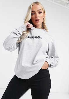Napapijri Box long sleeve t-shirt in grey