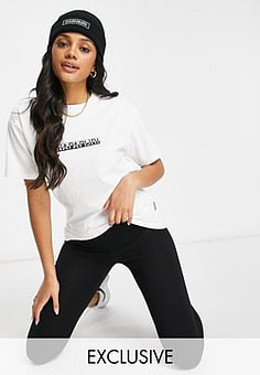 Napapijri Box t-shirt in white Exclusive at ASOS