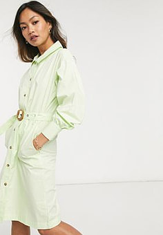 Native Youth belted shirt dress in green