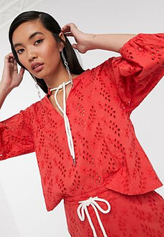 Native Youth blouse with drawcord in broderie co-ord-Red