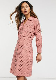 Native Youth broderie button through dress-Pink