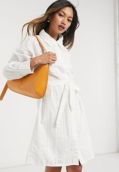 Native Youth broderie shirt dress-White