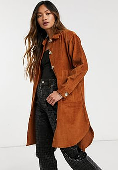 Native Youth button cord through shirt dress in rust-Orange