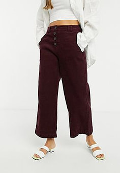 Native Youth cord trousers in wine-Red