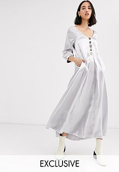 Native Youth exclusive volume maxi smock dress in shimmer fabric-Silver