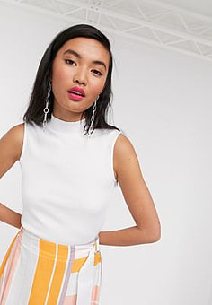 Native Youth high neck sleeveless top in rib-White