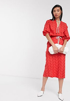 Native Youth midi skirt with drawcord in broderie co-ord-Red