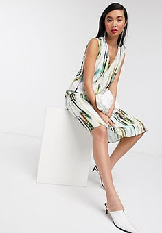 Native Youth midi slip dress with full skirt in abstract print satin-Multi