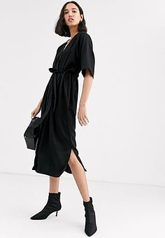 Native Youth relaxed dress with tie waist-Black