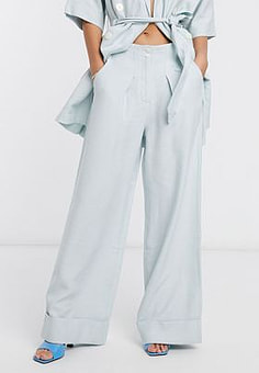 Native Youth relaxed wide leg tailored trousers co-ord-Blue