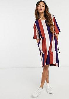 Native Youth striped dress with tie waist-Multi