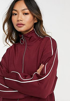 Native Youth track jacket in burgundy-Red