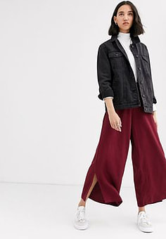 Native Youth wide leg trousers with ring pull in satin co-ord-Red