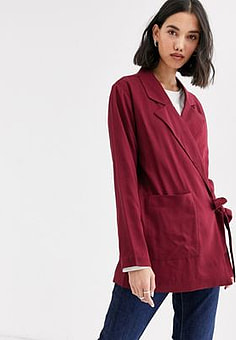 Native Youth wrap front blazer in satin co-rd-Red