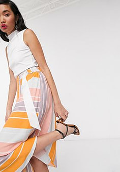 Native Youth wrap skirt in bright stripe-Orange