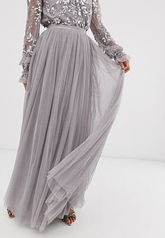 Needle & Thread dotted tulle maxi skirt in grey