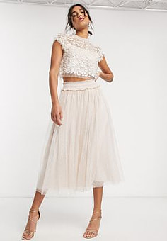 Needle & Thread embellished crop top in blush and cream-Pink