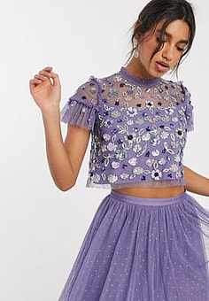 Needle & Thread embellished tulle crop top in lilac grey