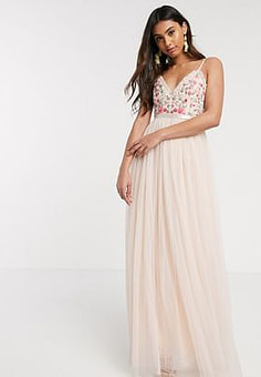 Needle & Thread embroidered cami gown in blush-Pink