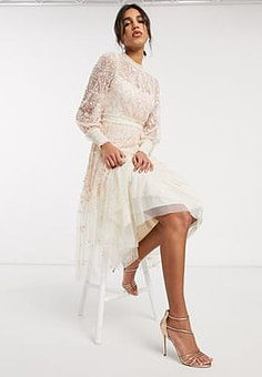 Needle & Thread embroidered tiered midi dress in cream