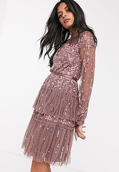 Needle & Thread embroidered tiered mini dress with sheer sleeves in merlot-Purple