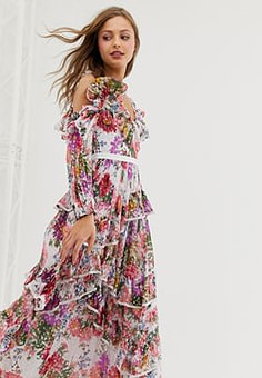Needle & Thread ruffle cold shoulder maxi dress in allover floral print-White