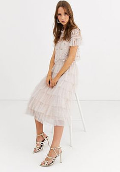 Needle & Thread tiered ruffle ballerina skirt in blush-Pink