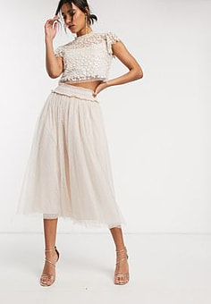Needle & Thread tulle midaxi skirt in blush pink