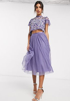 Needle & Thread tulle midi skirt in bluebelle