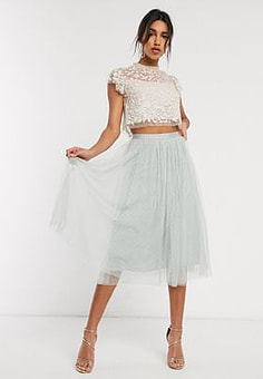 Needle & Thread tulle midi skirt in mint-Green