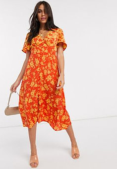 Neon Rose button front midi dress in mixed floral print-Orange