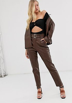 Neon Rose high waisted trousers in faux leather with belt-Brown