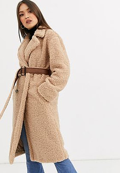 Neon Rose maxi coat in teddy with faux leather belt-Beige