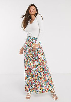 Neon Rose maxi skirt in vintage floral-White