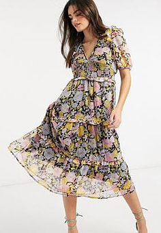 Neon Rose midi dress with tiered ruffle skirt and bow back in floral-Multi