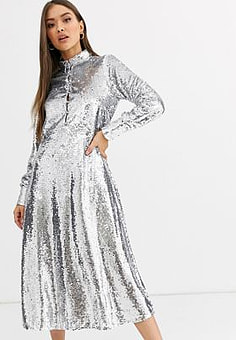 Neon Rose midi shirt dress with full skirt in sequin-Silver