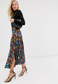 Neon Rose pleated midi skirt with split in vintage floral-Black