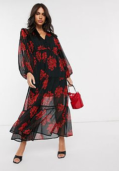 Neon Rose tiered maxi tea dress with balloon sleeves in bold floral-Black