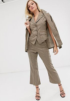 Neon Rose wide leg trousers in check-Beige
