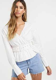 Neon Rose wrap blouse with belted waist-White
