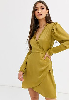 Neon Rose wrap front mini dress in hammered satin-Green