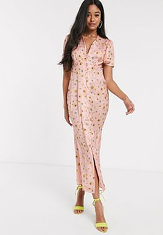 Never Fully Dressed button through maxi dress in blush star print-Multi