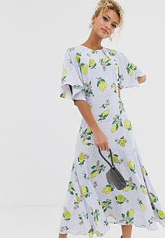 Never Fully Dressed cap sleeve midaxi dress in lemon print-Multi