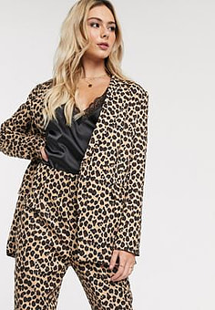 Never Fully Dressed double breasted blazer in leopard print-Multi