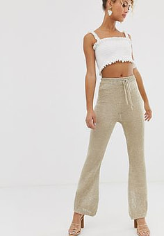 Never Fully Dressed metallic knitted flare trouser co-ord in light gold