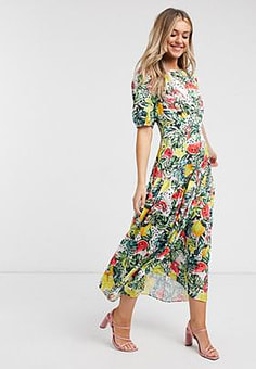 Never Fully Dressed puff sleeve midaxi dress in tropical floral print-Multi