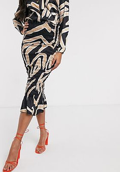 Never Fully Dressed shirred midi bodycon skirt o ord in mono abstract print-Multi