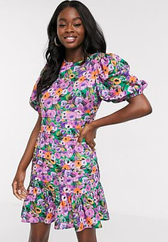 Never Fully Dressed tiered mini puff sleeve skater dress in purple floral print-Multi